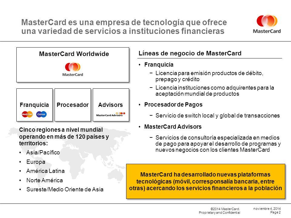 09 de abril de 2017 MasterCard es una empresa de tecnología que ofrece una variedad de servicios a instituciones financieras.