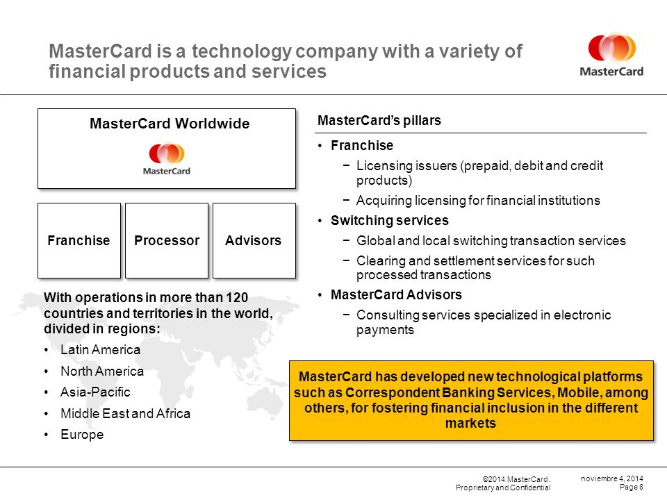 09 de abril de 2017 MasterCard is a technology company with a variety of financial products and services.