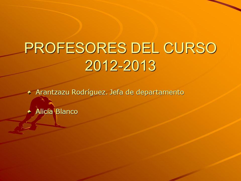 PROFESORES DEL CURSO 2012-2013 Arantzazu Rodríguez. Jefa de departamento Alicia Blanco