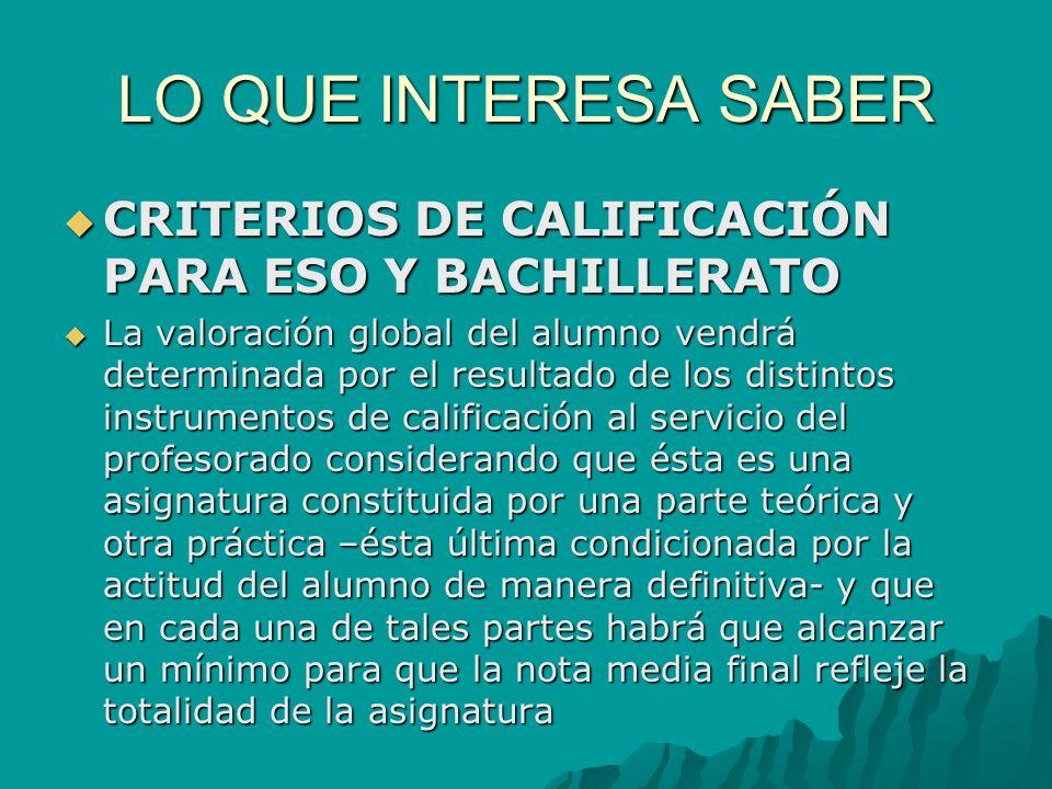 LO QUE INTERESA SABER CRITERIOS DE CALIFICACIÓN PARA ESO Y BACHILLERATO