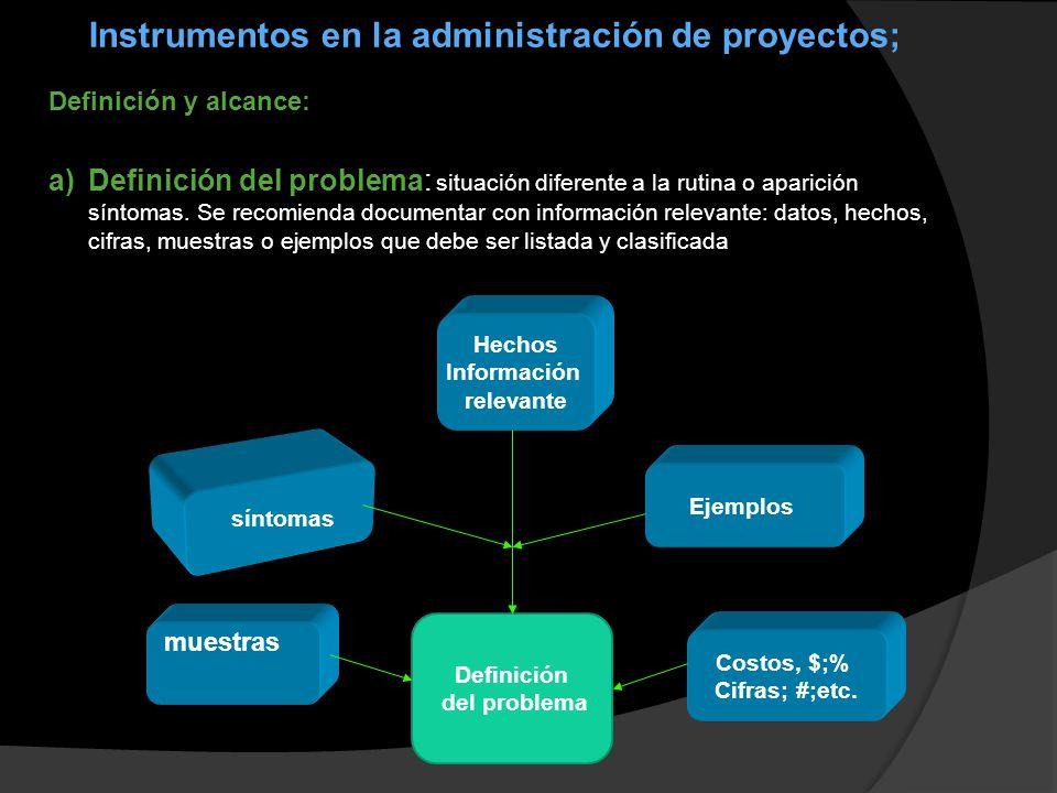 Instrumentos en la administración de proyectos;