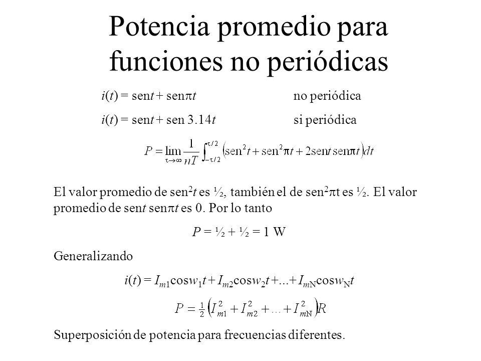Potencia promedio para funciones no periódicas