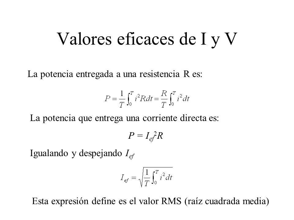 Valores eficaces de I y V