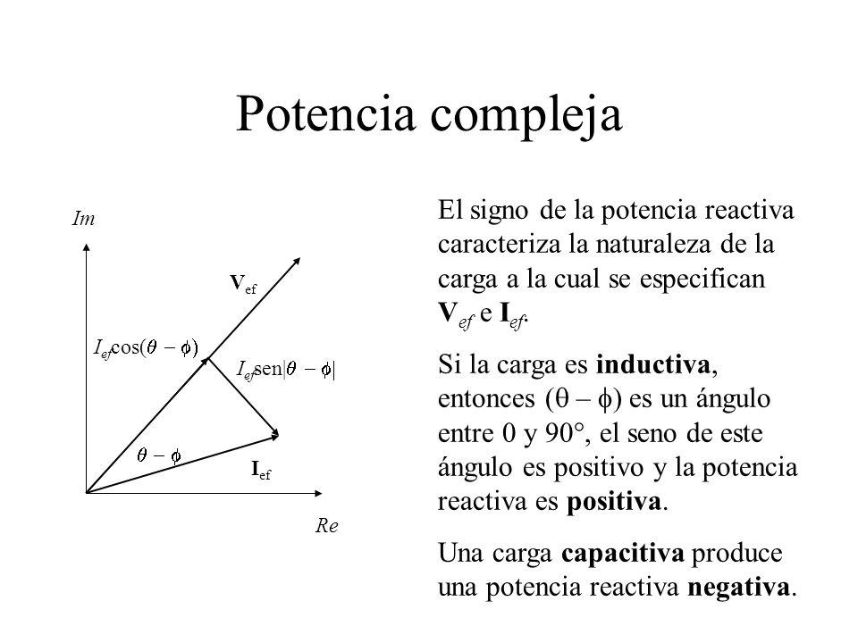 Potencia compleja El signo de la potencia reactiva caracteriza la naturaleza de la carga a la cual se especifican Vef e Ief.