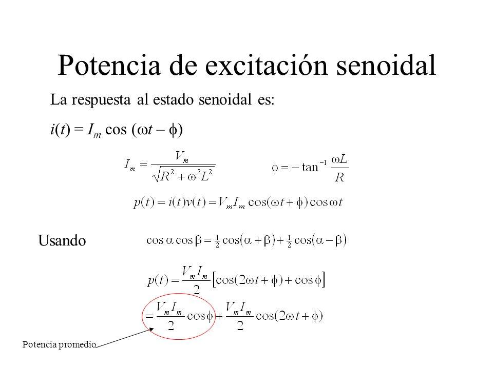 Potencia de excitación senoidal