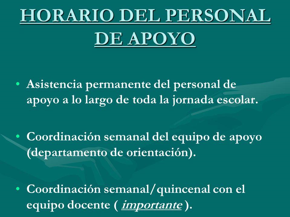 HORARIO DEL PERSONAL DE APOYO