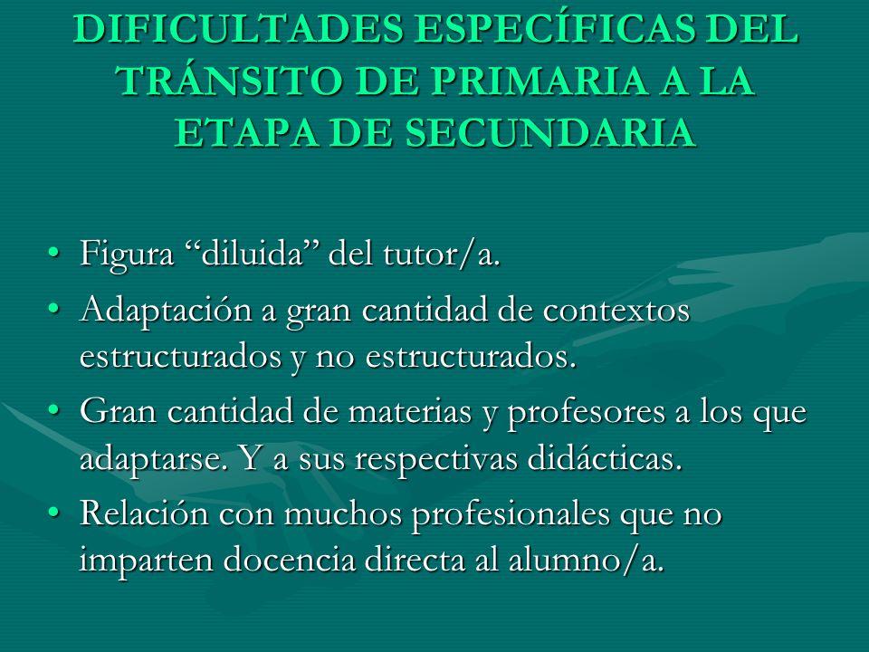 DIFICULTADES ESPECÍFICAS DEL TRÁNSITO DE PRIMARIA A LA ETAPA DE SECUNDARIA