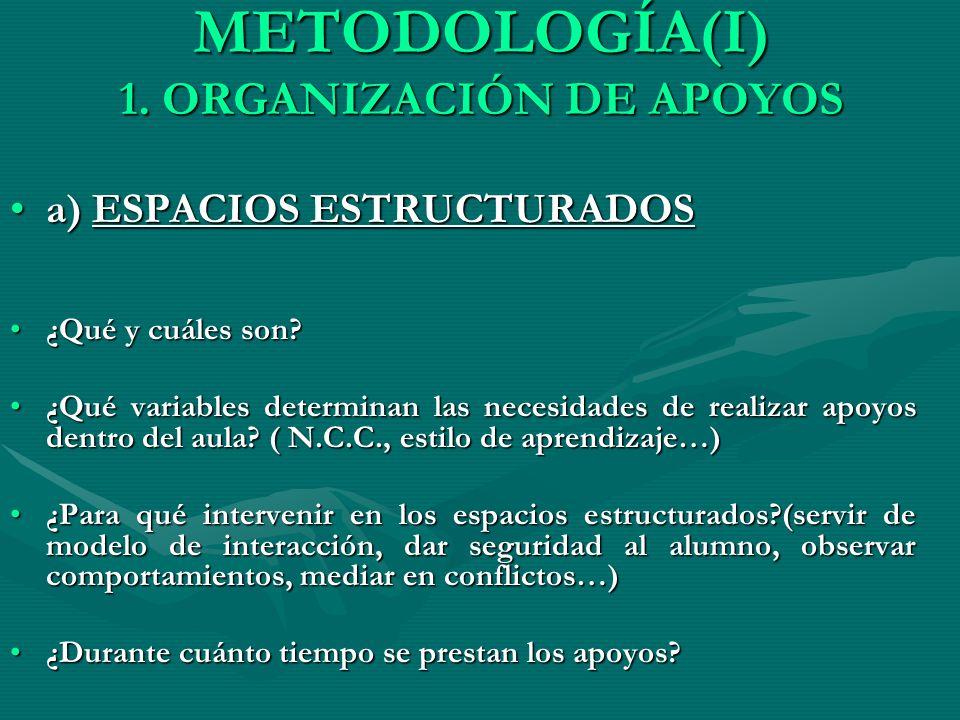 METODOLOGÍA(I) 1. ORGANIZACIÓN DE APOYOS