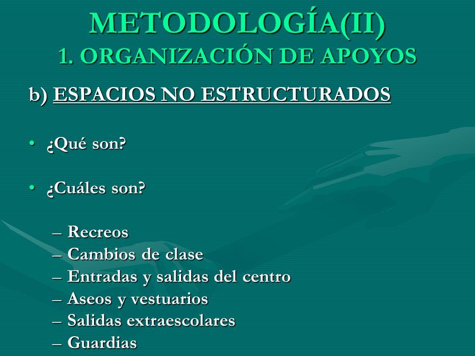 METODOLOGÍA(II) 1. ORGANIZACIÓN DE APOYOS