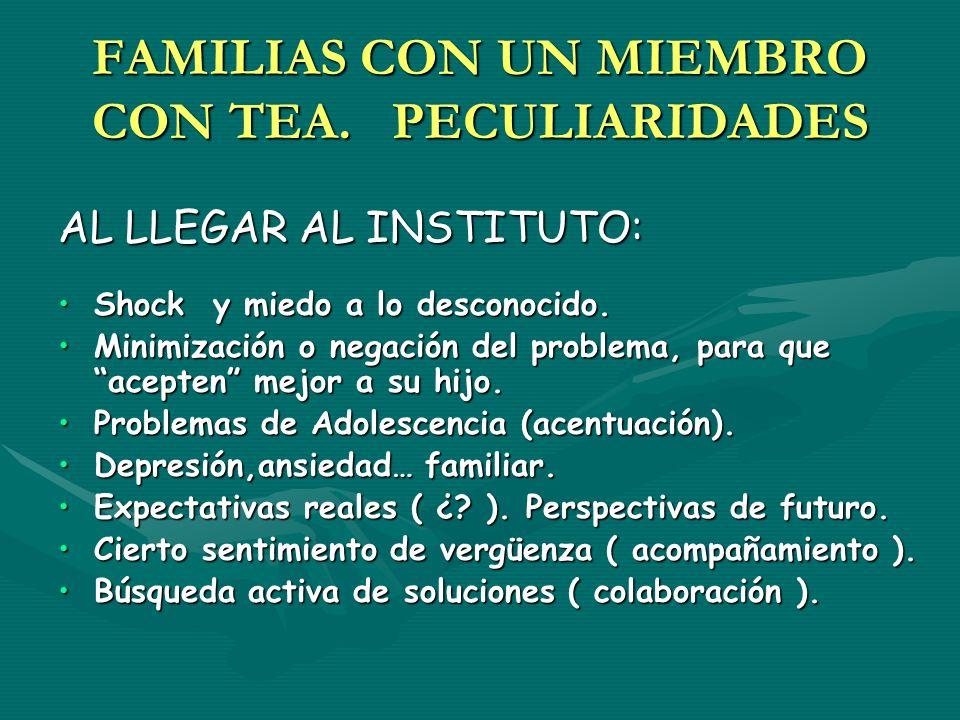 FAMILIAS CON UN MIEMBRO CON TEA. PECULIARIDADES