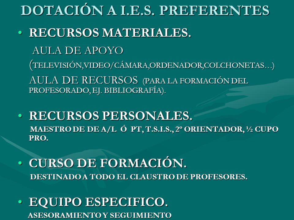 DOTACIÓN A I.E.S. PREFERENTES