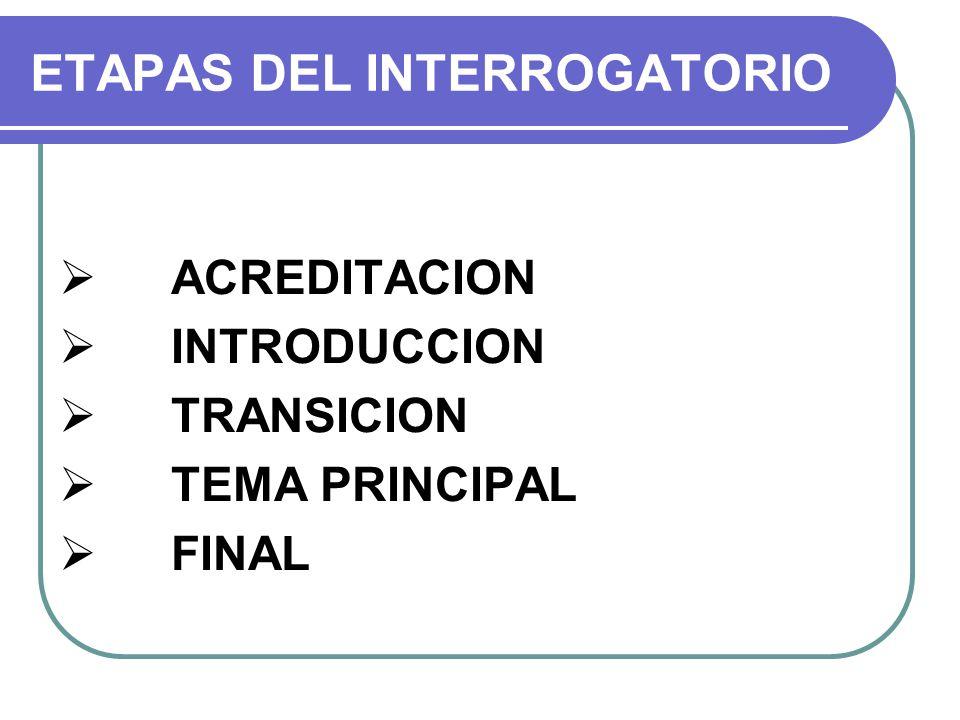 ETAPAS DEL INTERROGATORIO