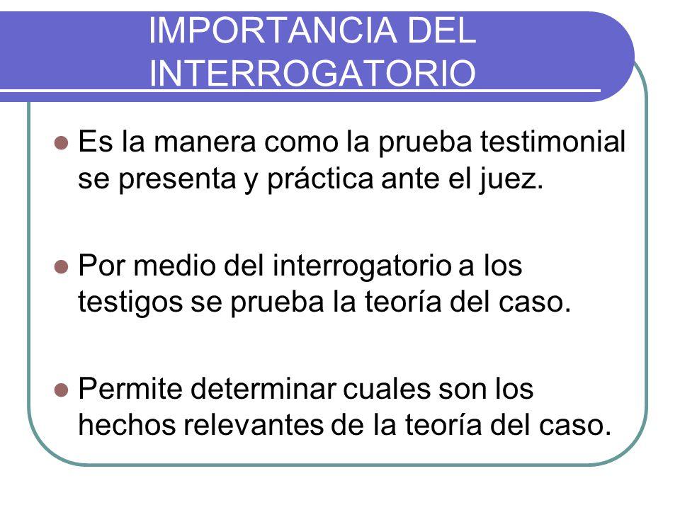 IMPORTANCIA DEL INTERROGATORIO