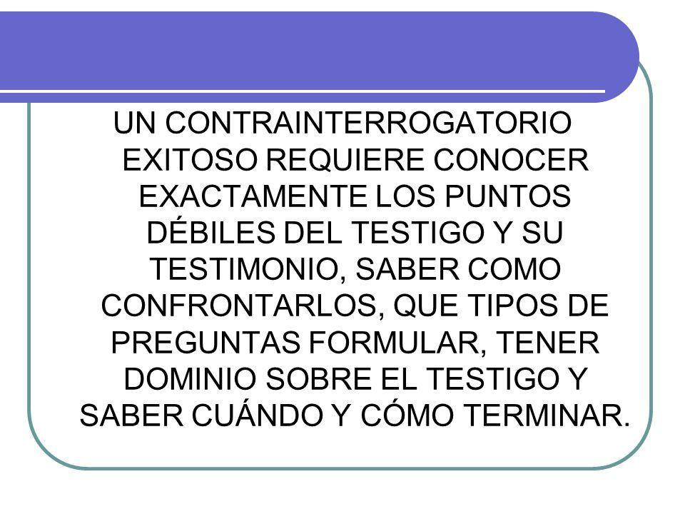 UN CONTRAINTERROGATORIO EXITOSO REQUIERE CONOCER EXACTAMENTE LOS PUNTOS DÉBILES DEL TESTIGO Y SU TESTIMONIO, SABER COMO CONFRONTARLOS, QUE TIPOS DE PREGUNTAS FORMULAR, TENER DOMINIO SOBRE EL TESTIGO Y SABER CUÁNDO Y CÓMO TERMINAR.