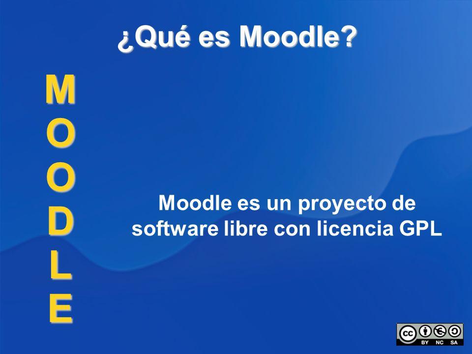 Moodle es un proyecto de software libre con licencia GPL