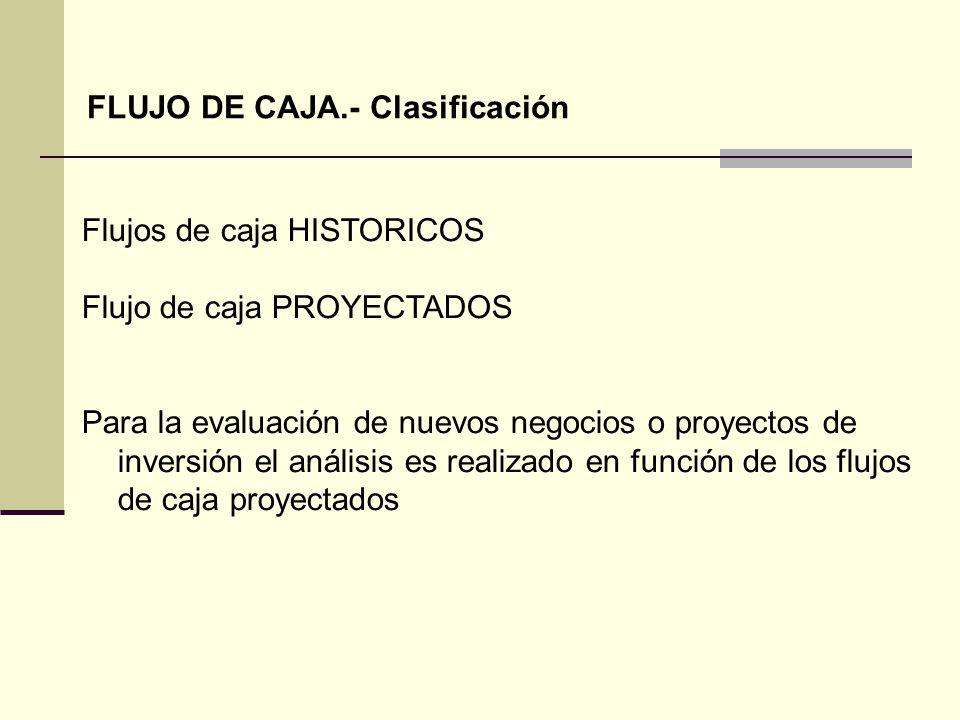 FLUJO DE CAJA.- Clasificación
