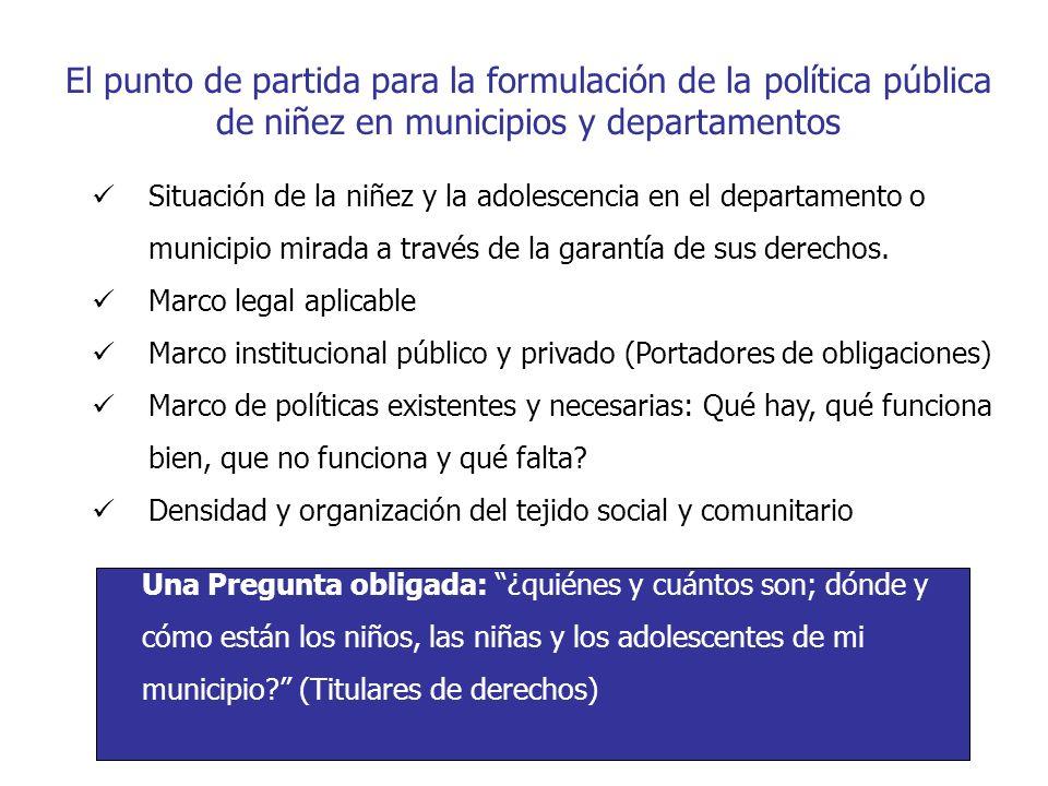 El punto de partida para la formulación de la política pública de niñez en municipios y departamentos