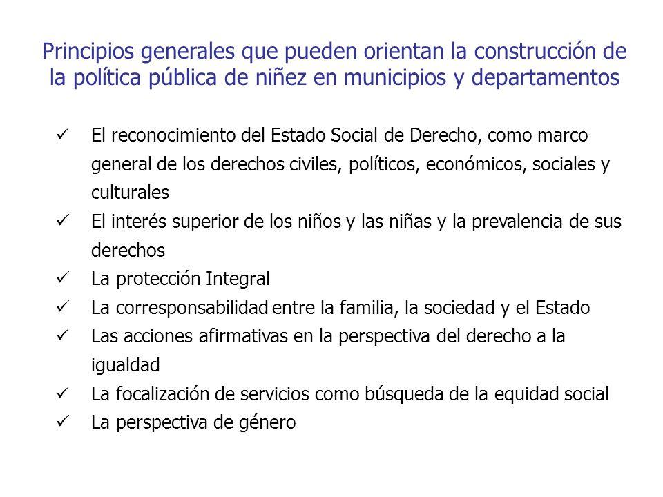 Principios generales que pueden orientan la construcción de la política pública de niñez en municipios y departamentos