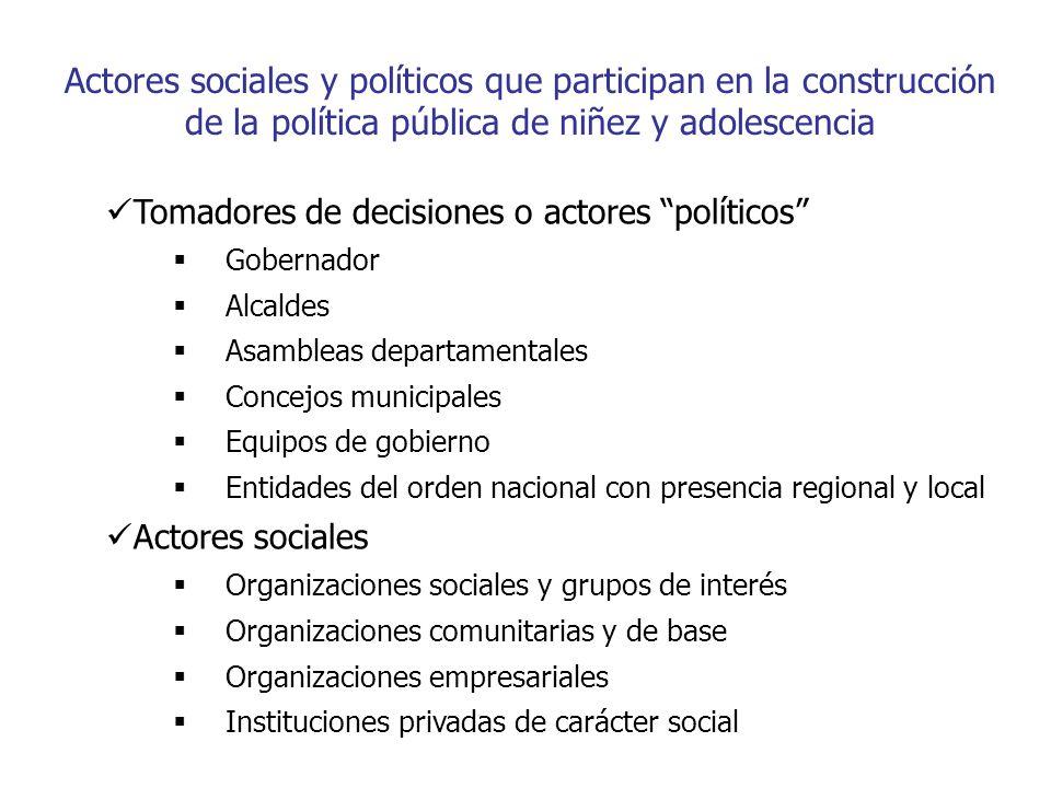 Actores sociales y políticos que participan en la construcción de la política pública de niñez y adolescencia
