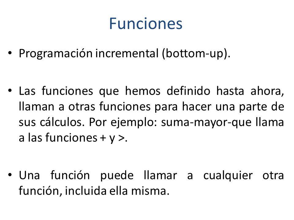 Funciones Programación incremental (bottom-up).
