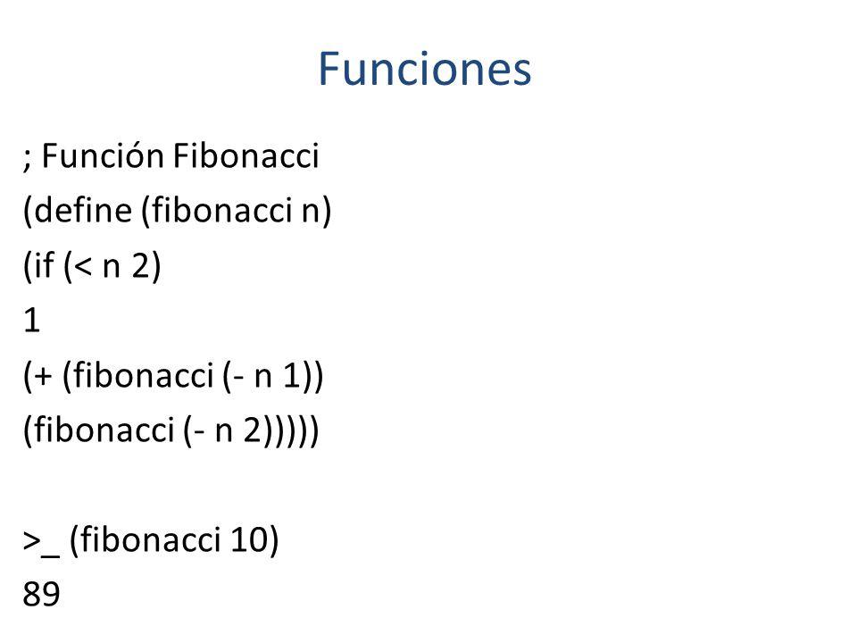 Funciones ; Función Fibonacci (define (fibonacci n) (if (< n 2) 1