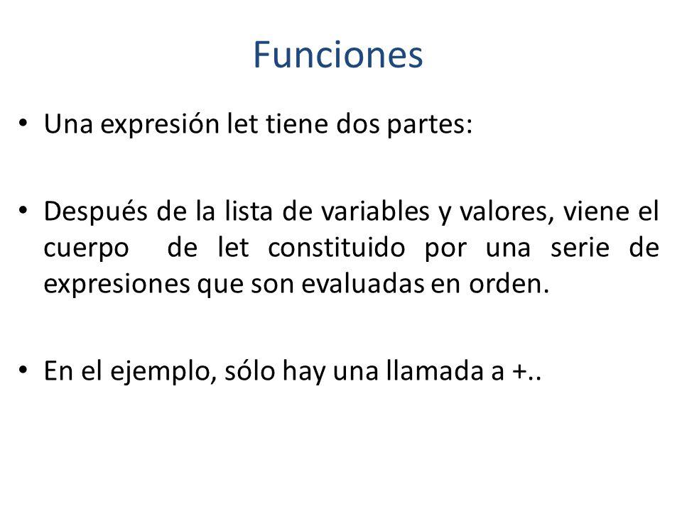 Funciones Una expresión let tiene dos partes: