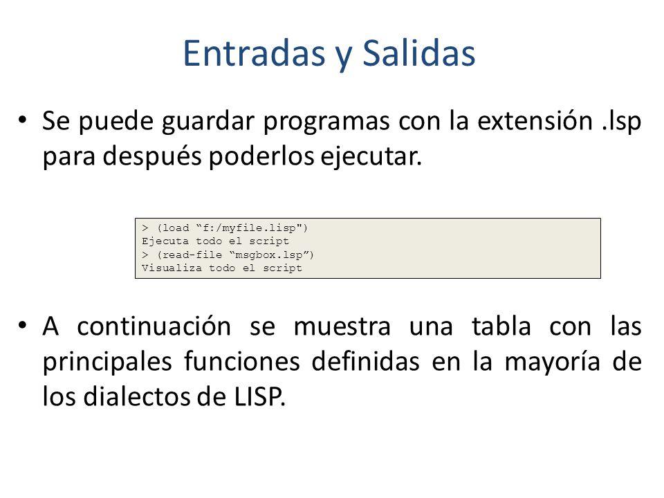 Entradas y Salidas Se puede guardar programas con la extensión .lsp para después poderlos ejecutar.