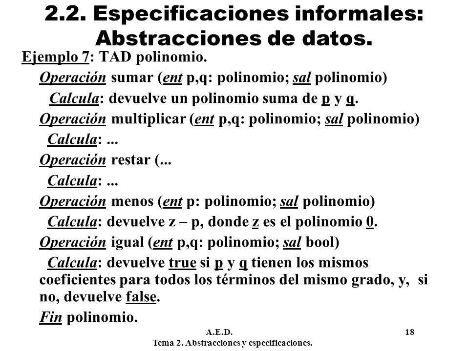 2.2. Especificaciones informales: Abstracciones de datos.