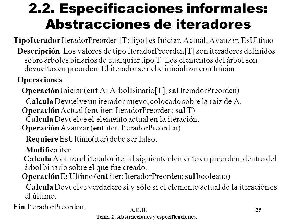 2.2. Especificaciones informales: Abstracciones de iteradores