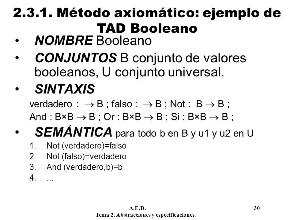 2.3.1. Método axiomático: ejemplo de TAD Booleano