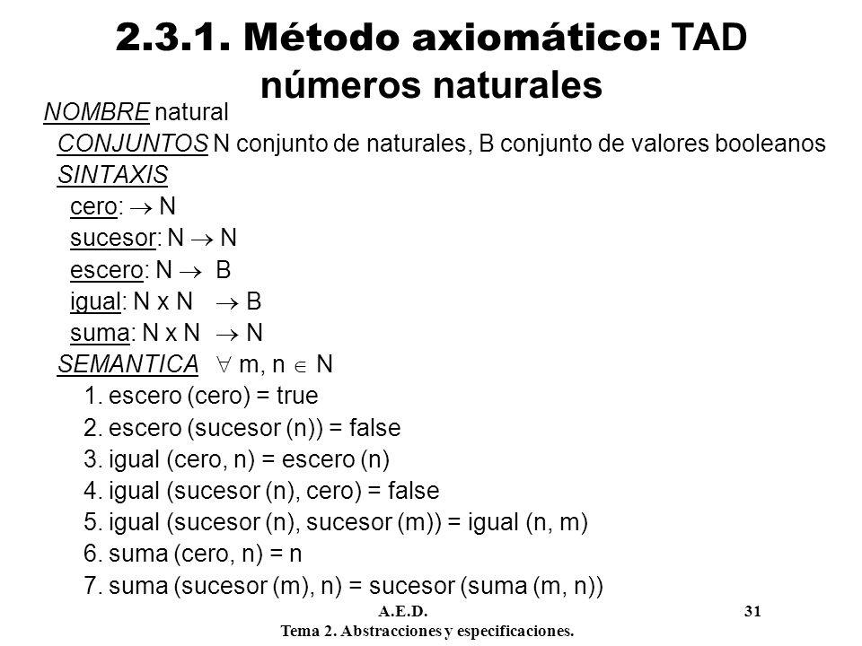 2.3.1. Método axiomático: TAD números naturales