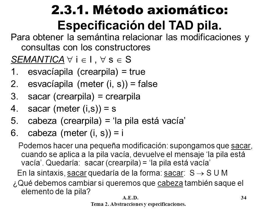 2.3.1. Método axiomático: Especificación del TAD pila.