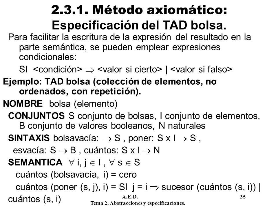 2.3.1. Método axiomático: Especificación del TAD bolsa.