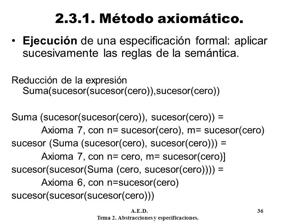 2.3.1. Método axiomático. Ejecución de una especificación formal: aplicar sucesivamente las reglas de la semántica.