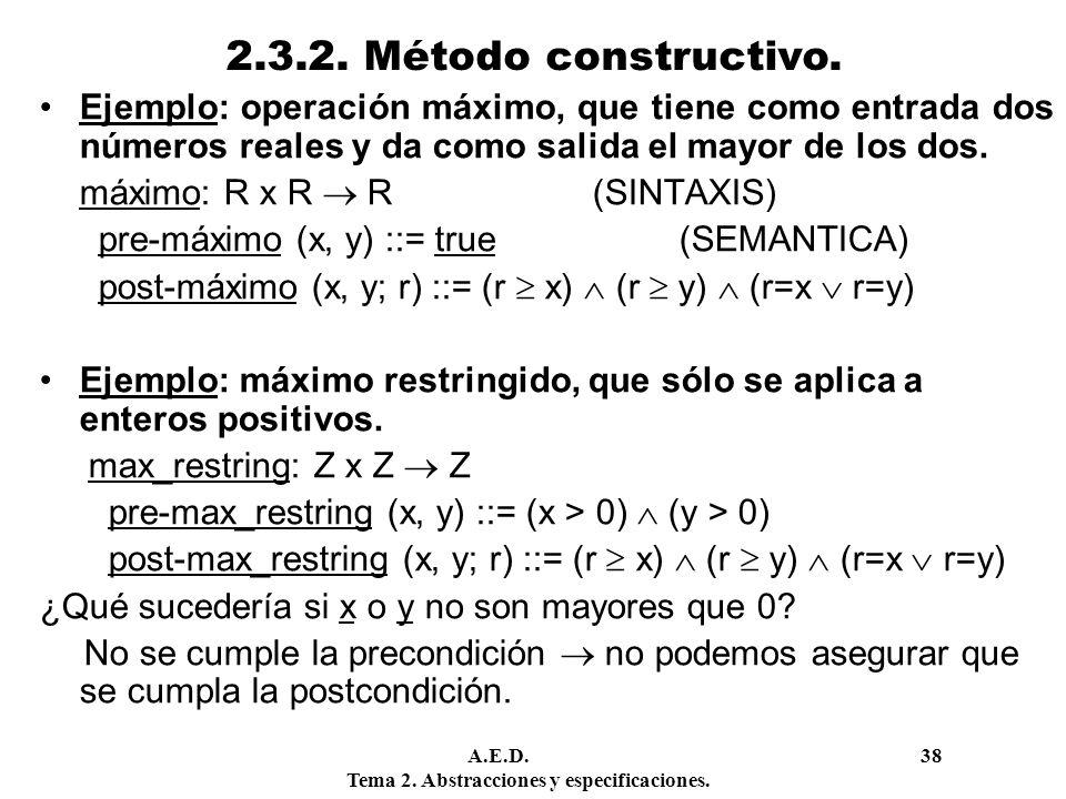 2.3.2. Método constructivo. Ejemplo: operación máximo, que tiene como entrada dos números reales y da como salida el mayor de los dos.