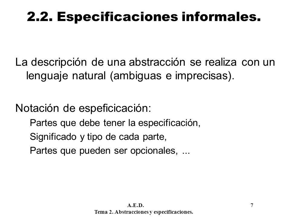 2.2. Especificaciones informales.