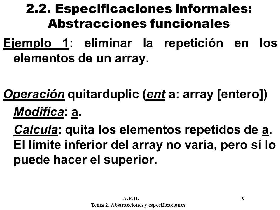 2.2. Especificaciones informales: Abstracciones funcionales