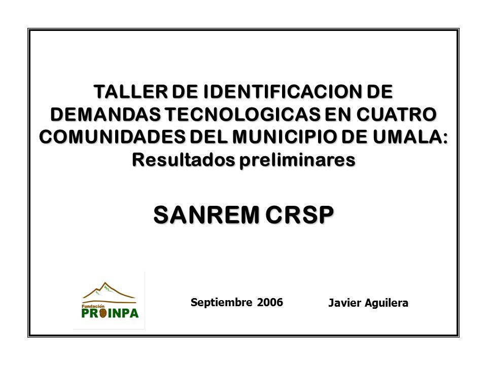 TALLER DE IDENTIFICACION DE DEMANDAS TECNOLOGICAS EN CUATRO COMUNIDADES DEL MUNICIPIO DE UMALA: Resultados preliminares