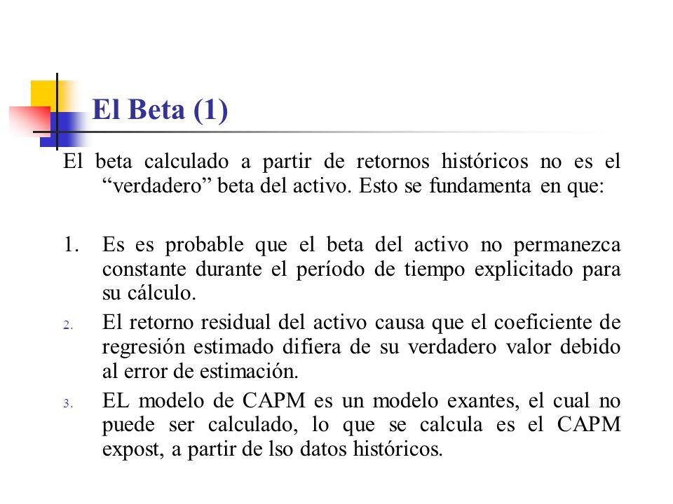 El Beta (1) El beta calculado a partir de retornos históricos no es el verdadero beta del activo. Esto se fundamenta en que: