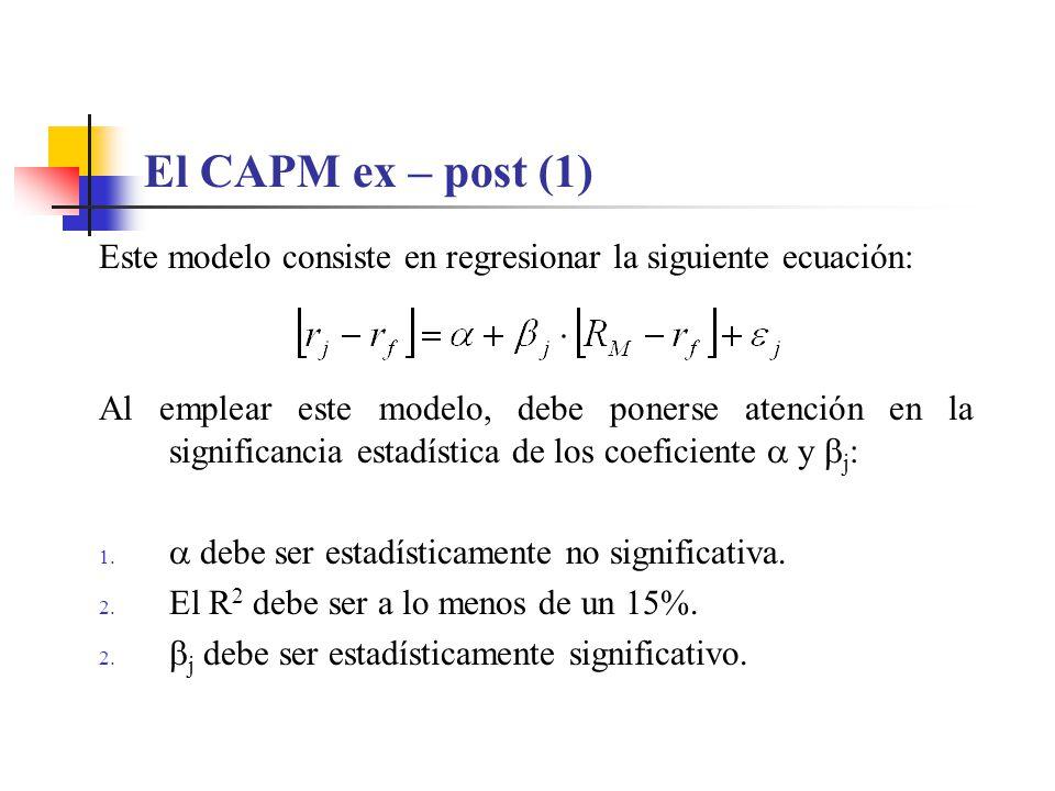 El CAPM ex – post (1) Este modelo consiste en regresionar la siguiente ecuación: