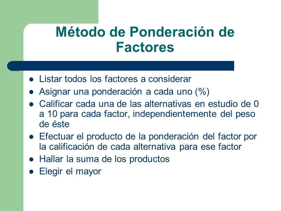 Método de Ponderación de Factores