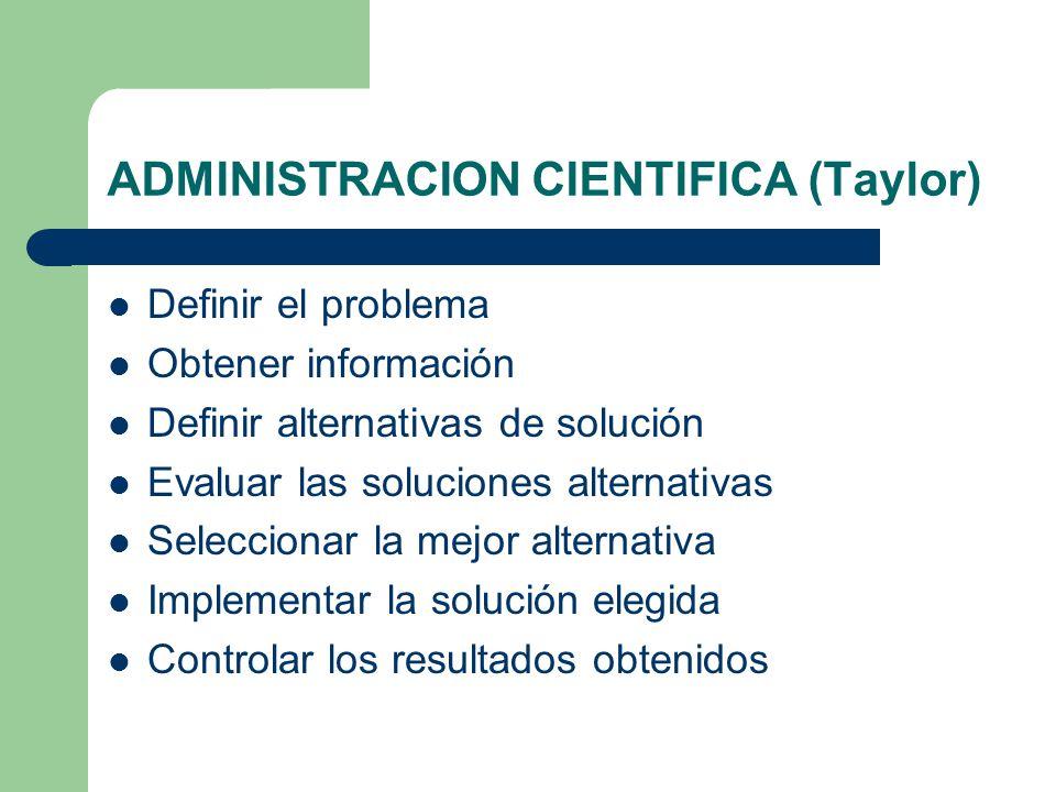 ADMINISTRACION CIENTIFICA (Taylor)