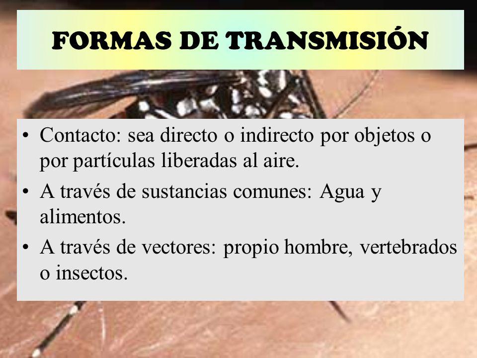 FORMAS DE TRANSMISIÓNContacto: sea directo o indirecto por objetos o por partículas liberadas al aire.