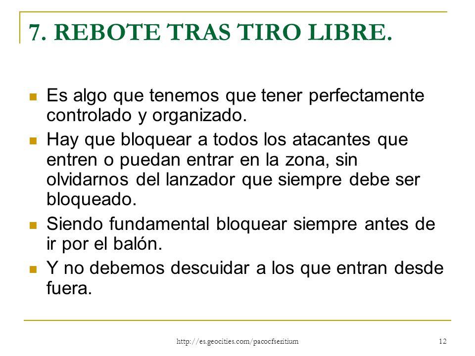 7. REBOTE TRAS TIRO LIBRE. Es algo que tenemos que tener perfectamente controlado y organizado.