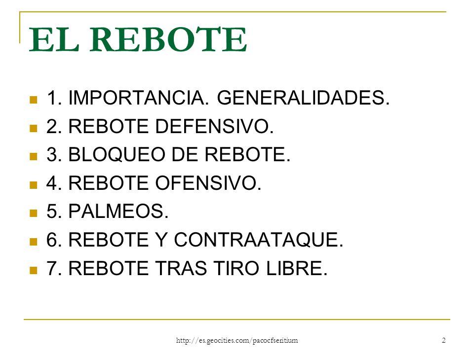 EL REBOTE 1. IMPORTANCIA. GENERALIDADES. 2. REBOTE DEFENSIVO.