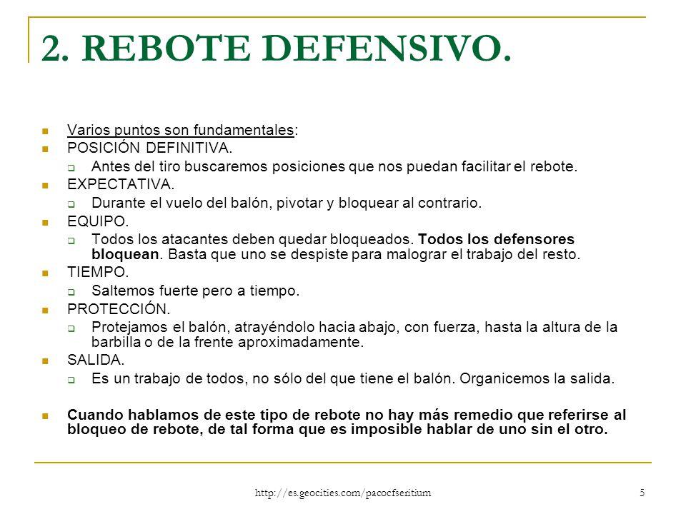 2. REBOTE DEFENSIVO. Varios puntos son fundamentales: