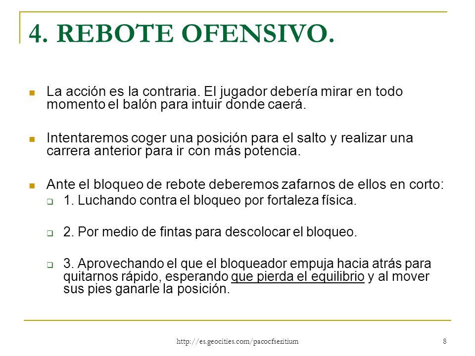 4. REBOTE OFENSIVO. La acción es la contraria. El jugador debería mirar en todo momento el balón para intuir donde caerá.