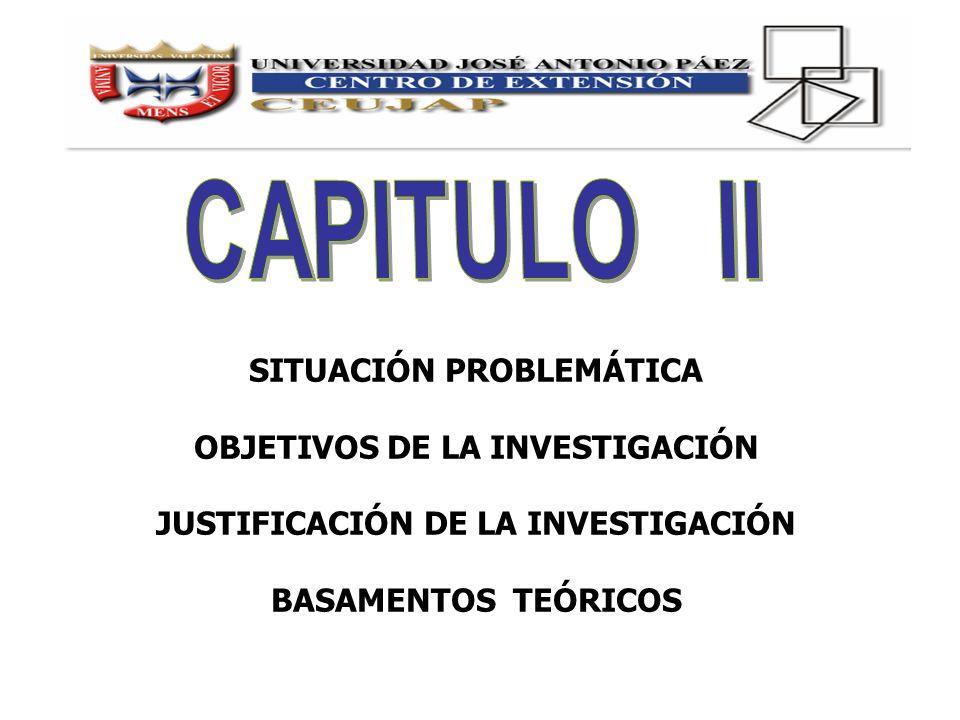 CAPITULO II SITUACIÓN PROBLEMÁTICA OBJETIVOS DE LA INVESTIGACIÓN
