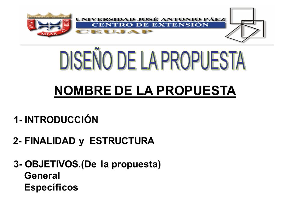 NOMBRE DE LA PROPUESTA DISEÑO DE LA PROPUESTA 1- INTRODUCCIÓN