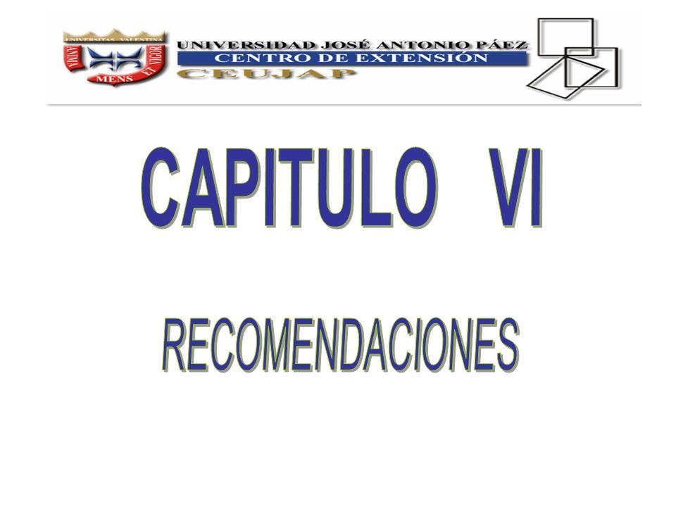 CAPITULO VI RECOMENDACIONES